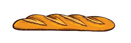 Pane bianco. Baguette. Vettore disegnato a mano. Illustrazione di incisione vintage a colori per poster, etichette e menu da forno.