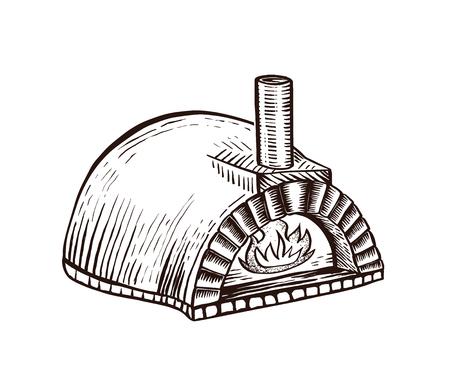 Kominek do włoskiej pizzy. Tradycyjny piec neapolitański do gotowania i pieczenia pizzy. Ręcznie rysowane element projektu. Vintage Grawerowanie ilustracja logotyp, plakat, www. Logo