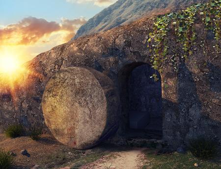 Él ha resucitado. Crucifixión al amanecer. La tumba de Jesús. Vista exterior de la tumba. Ilustración 3D