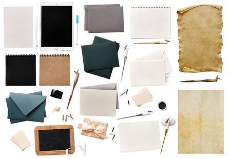 Collection of a calligraphy supplies isolated on a white background