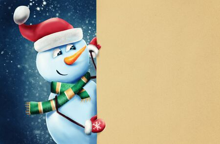 Happy snowman holding blank banner, winter background, Christmas greeting card