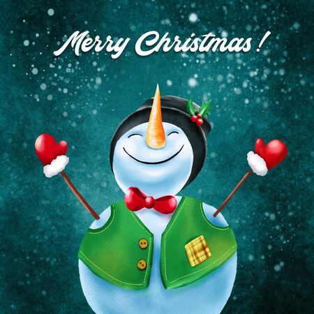 Happy Snowman standing in winter christmas background. Merry christmas and happy new year greeting card. Hand draw illustration. Stockfoto