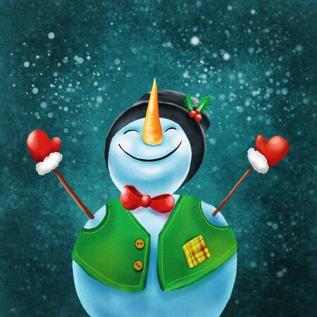 Merry christmas and happy new year greeting card with copy-space. Happy snowman standing in winter christmas landscape.