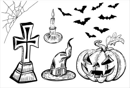 Vector Halloween pumpkin. Hand drawn illustration. Vintage engraving element. Scary pumpkins sketch.