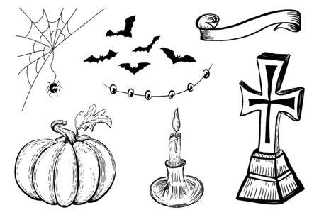 Halloween design template. Hand drawn design element. Vintage black and color vector engraving illustration. Halloween symbols.