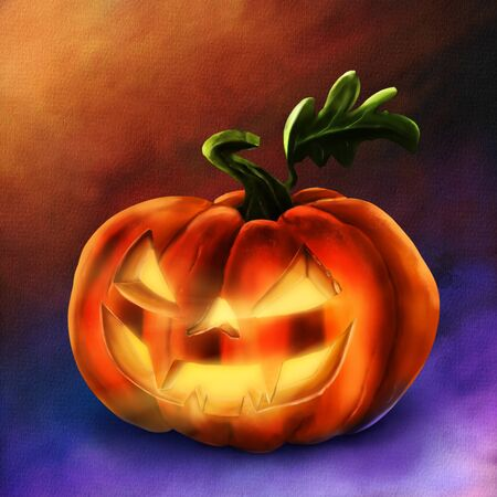Halloween Pumpkin on colorful background. Hand drawn illustration. Фото со стока - 132119159