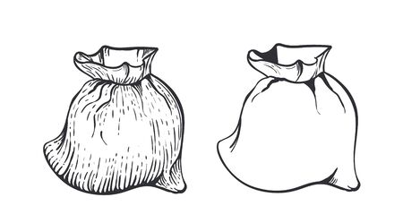 Two bag of burlap with flour or sugar on white background. Hand draw vector illustration in engraving style