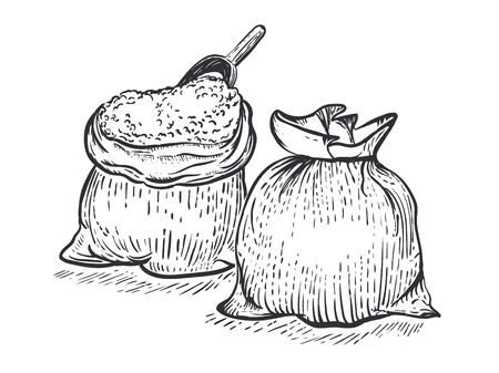 Two bag of burlap with flour scoop on white background. Hand draw vector illustration in engraving style
