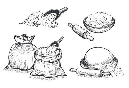 ●小麦粉ベクトル描き下ろしセットイラスト。彫刻スタイル。