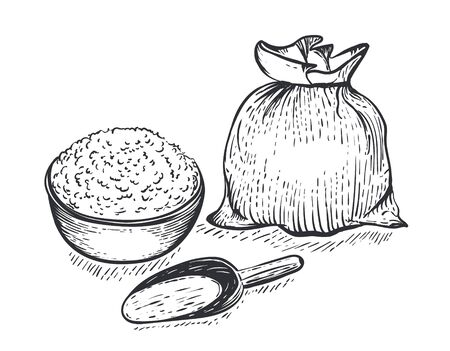 Bag of burlap with flour scoop and bowl of flour on white background. Hand draw vector illustration in engraving style