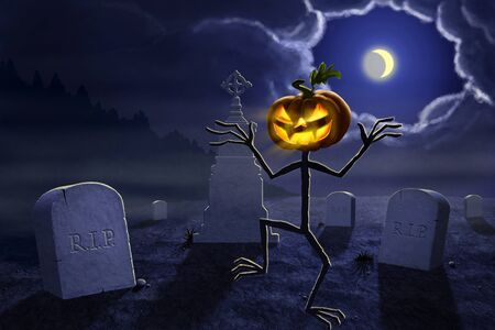 Halloween illustration of a Jack olantern. Old halloween cemetery at night