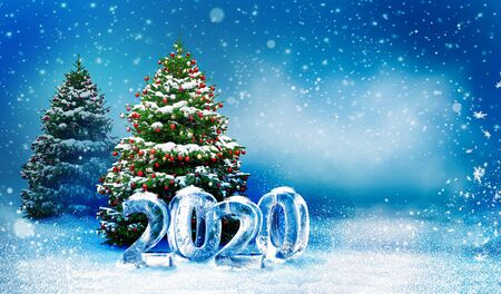 Beautiful snowy Christmas background with two New Year trees. Christmas tree decorated with red balls and snow. Holiday winter landscape with snowfall and cool ice numbers 2020.