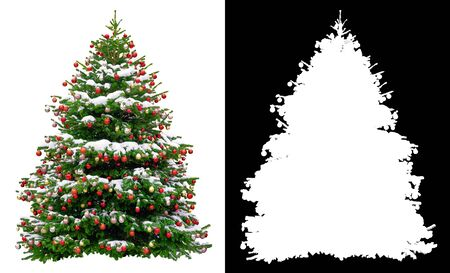 Christmas snowy tree decorated with red balls isolated on white background. Black and white mask of Christmas tree Reklamní fotografie