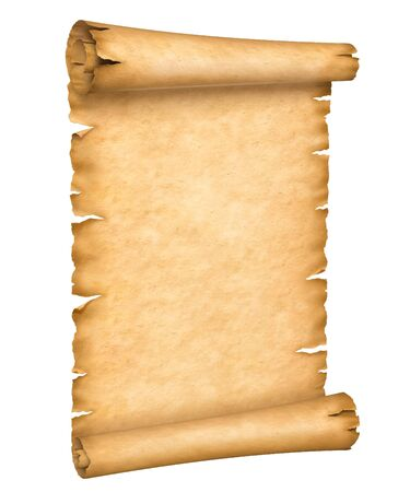 Old paper manuscript or papyrus scroll vertically oriented isolated on white background. Reklamní fotografie
