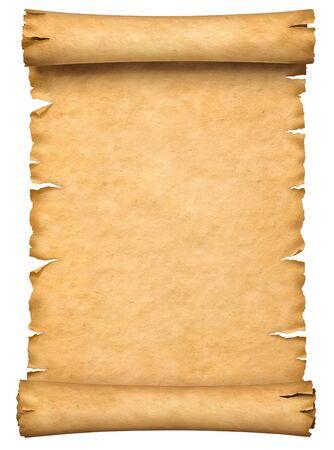 Altes Papiermanuskript oder Papyrusrolle vertikal orientiert lokalisiert auf weißem Hintergrund. Standard-Bild