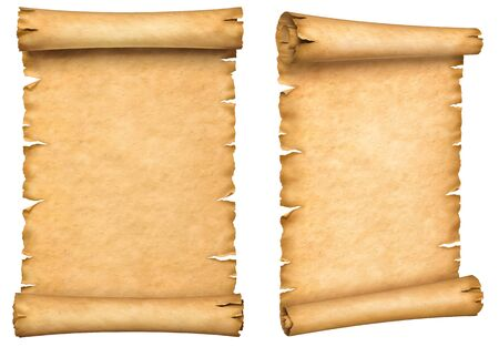 Two old paper manuscripts. Papyrus scroll vertically oriented isolated on white background.