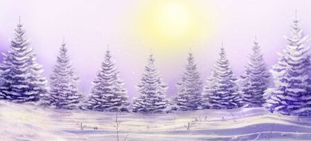 Morning winter landscape with snowy christmas trees. Christmas background for your design.