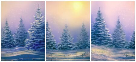 Christmas cards with Morning winter landscape with snowy christmas trees. Christmas background for your design. Snowdrifts and falling snow on nature outdoors. Reklamní fotografie