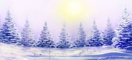 Morning winter landscape with snowy christmas trees. Christmas background for your design. Snowdrifts and falling snow on nature outdoors. Reklamní fotografie