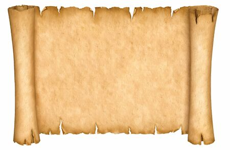 Old paper manuscript or papyrus scroll horizontal oriented isolated on white background.