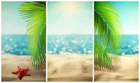 Set of beautiful tropical beach vertical banner. Summer landscape with coco palms on blur defocused blue sea or ocean background. Summer vacation concept