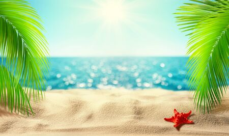 Beautiful tropical beach banner. Mockup of summer landscape with coco palms on blur defocused blue sea or ocean background. Summer vacation concept Reklamní fotografie