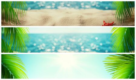 Set of beautiful tropical beach banner. Summer landscape with coco palms on blur defocused blue sea or ocean background. Summer vacation concept