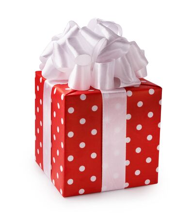 Beautiful decorative red gift box with white bow. Happy Womens Day or Christmas and New Years Day. Reklamní fotografie