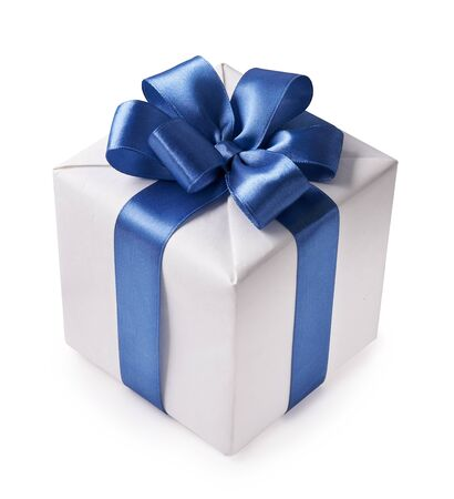 Beautiful white gift box with blue bow. Happy Womens Day or Christmas and New Years Day.