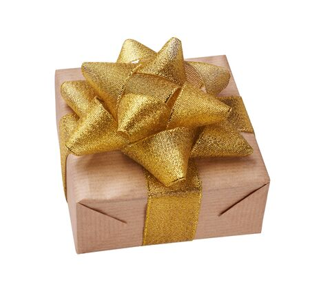 Beautiful gift box with gold bow. Happy Womens Day or Christmas and New Years Day.