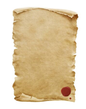 Red wax seal on old paper manuscript or papyrus scroll vertically oriented isolated on white background. Stok Fotoğraf