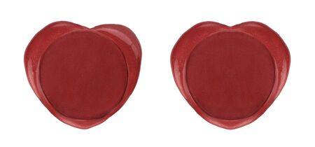 Two red wax seals heart shaped. Empty red stamps isolated on white background Stok Fotoğraf