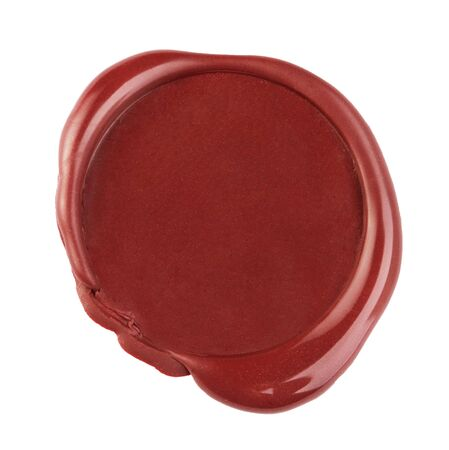 Empty red wax seal isolated on white background