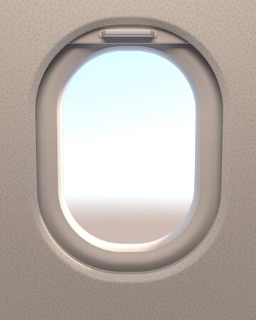 Airplane window or airplane porthole. 3d illustration.