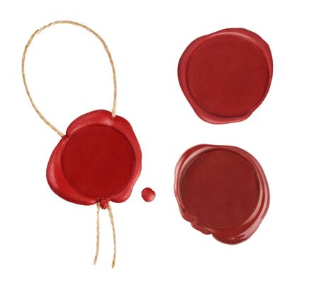Set of red wax seals isolated on white background. Empty red stamp with rope.