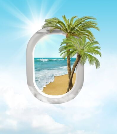 Travel concept with palms and airplane window and ocean.