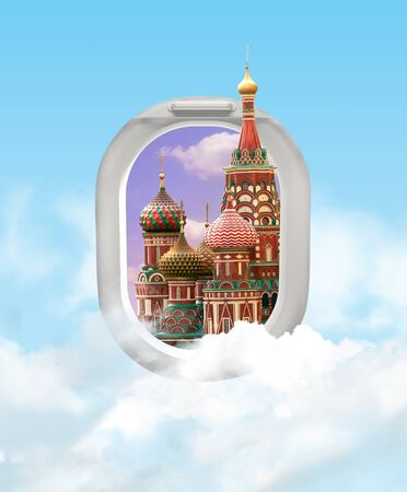 Travel concept with Moscow St. Basils Cathedral. View of airplane windows with clouds. Mixed media.