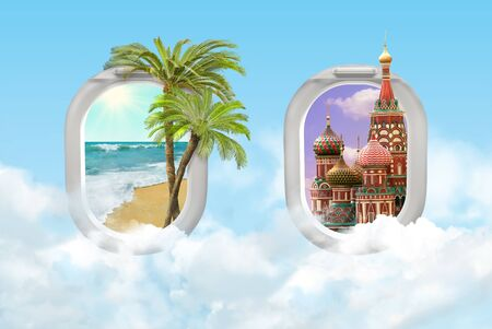 Travel concept with tropical palms ocean beach and Moscow St. Basils Cathedral. View of airplane windows. Mixed media.
