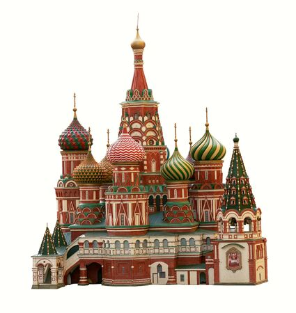 Moscow St. Basils Cathedral isolated on white background
