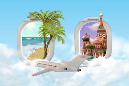 Travel concept with tropical palms ocean beach and Moscow St. Basils Cathedral with passenger airplane. View of airplane windows. Mixed media.