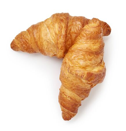 Two croissants isolated on white background. Top view.