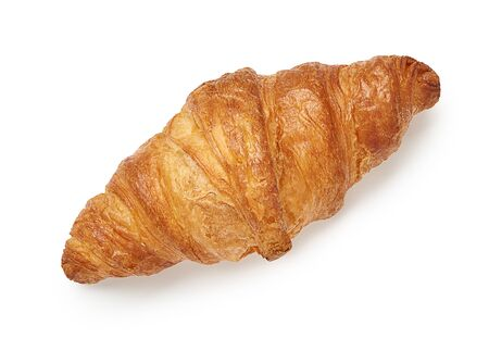One croissant isolated on white background. Top view.