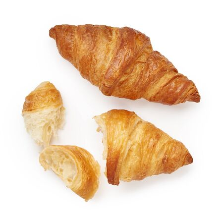 Two croissants with crumbs isolated on white background Stok Fotoğraf