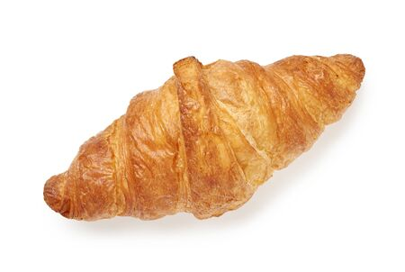 Fresh croissant isolated on white background. Top view.