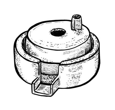 Meules à main pour grain avec porte-manche. Ancien. Dessin réaliste à la main. Illustration vectorielle de style de gravure.