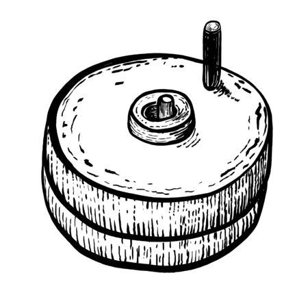Macine a mano per grano con portamanico. Vintage ?. Disegno realistico a mano. Illustrazione di vettore di stile di incisione. Vettoriali