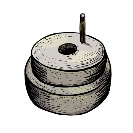 Hand millstones for grain with handle holder. Vintage. Hand realistic drawing. Engraving style vector illustration. Ilustracja