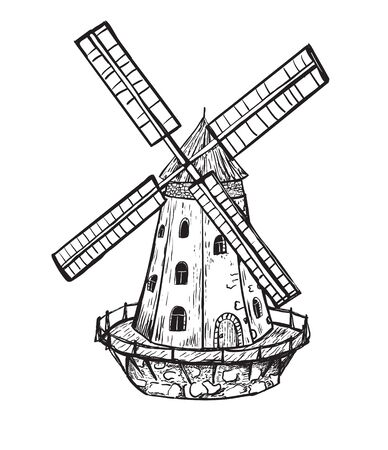 Windmill. Hand drawn sketch of mill. Engraving vintage style vector illustration.