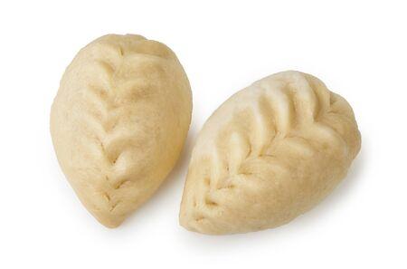Pyance dumpling isolated on white background. Asian street food. Top view of Korean delicious steamed dumplings. Zdjęcie Seryjne