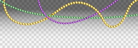 Vector illustration of Mardi Gras beads in traditional colors. Decorative glossy realistic elements for design Mardi Gras. Beads Isolated on transparent background. Çizim